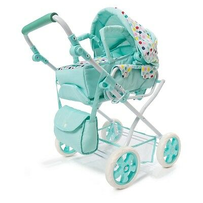 Kids Doll Pram Bag Set of 3 Baby Spots Green Stroller Play Toy Playset Girls