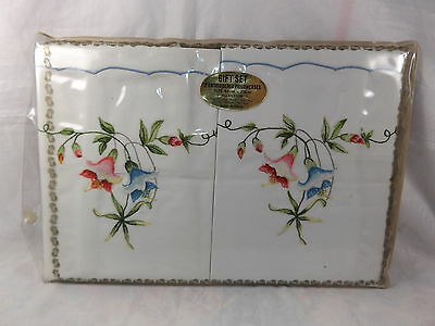 Vintage Pair 45x70cm White Embroidered Cotton Pillow Cases MIP Shabby Chic