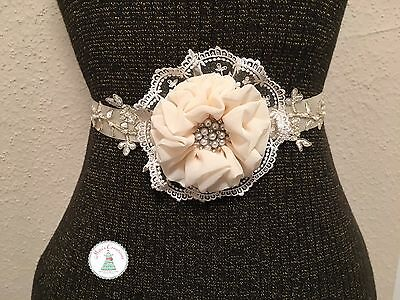 Handmade flower sash in Ivory/ Flower Girl Sash