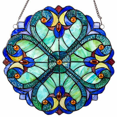 Stained Glass Window Hangings Baroque Style Panel Wall Attached Chain Victorian