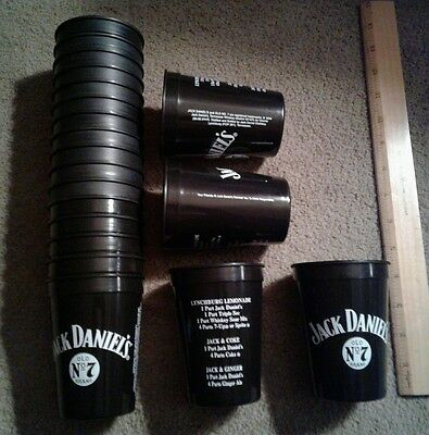 Vintage Jack Daniel's Old No.7 Black Plastic Drink Whiskey Recipe Cups lot of 20