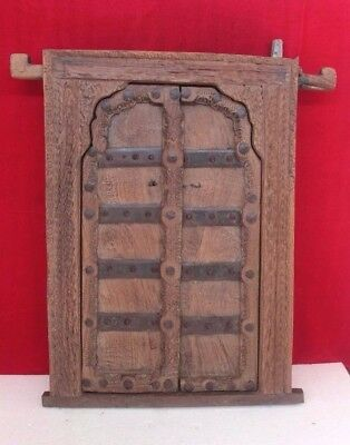 Antique Old Vintage Architectural Wooden Iron Fitted Window Frame Decor PS-43
