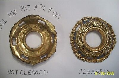 2 Antique Brass Electric Light Wall Fixture Cover Part Ornate Oil Lamp vintage