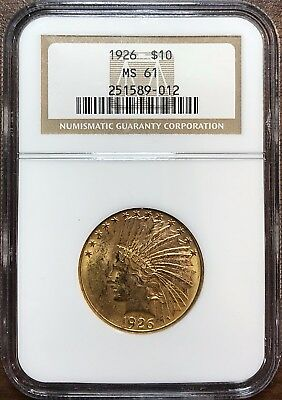 1926 $10 Indian Head Gold Eagle - NGC MS61 - UNCIRCULATED GOLD