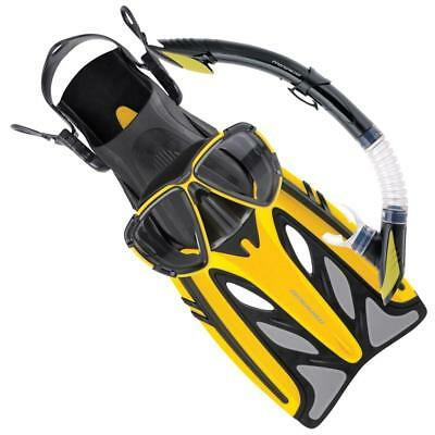 Crystal Adult Gold Series Mask, Snorkel & Flipper Set In Yellow From Mirage