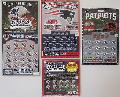 New England Patriots SV Instant Lottery Tickets 4 different