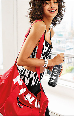 Victoria's Secret PINK 2017 duffle Coral gym bag +water bottle Straw NWT $59.99