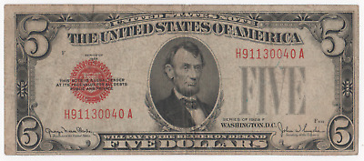 1928 Series F Red Seal $5 Five Dollar Bill United States Note
