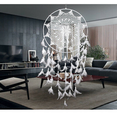 Large White Hook Handmade Dream Catcher With Feathers Wall Hanging Ornament