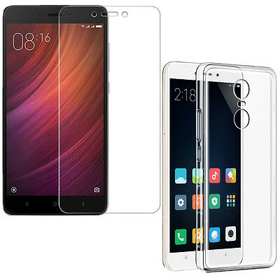 New Screen Protector Tempered Glass + Transparent Case for Xiaomi Redmi Note 4X