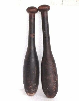 2 Pc Vintage Wooden Hand Carved Indian Washing Cloth Bat/Wand Collectible W50