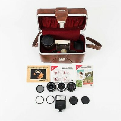 Vintage Lot Camera Case + Lenses Filters Flash Manuals Project Kit Canon Vivitar