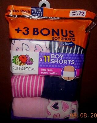 Fruit Of The Loom Girls' Boy Shorts / 11 Pack / 100% Cotton / Size 12