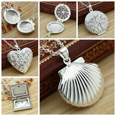 Fashion 925 Sterling Silver Locket Pendant Necklace Photo
