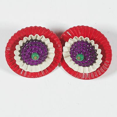 Vintage Bright Red, White, Purple & Green Metal Clip-On Earrings