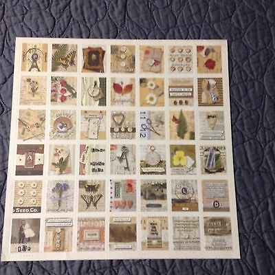 K&COMPANY LIFES JOURNEY STAMP COLLAGE EMBOSSED 12x12 PAPER HTF