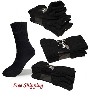 Lot 3 12 Pairs Black Mens Sports Athletic Crew Socks Cotton Size 9-11 10-13 New