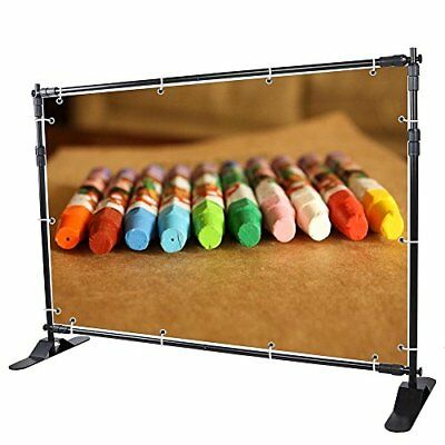 8' Step and Repeat Display Backdrop Banner Stand Adjustable Telescopic...