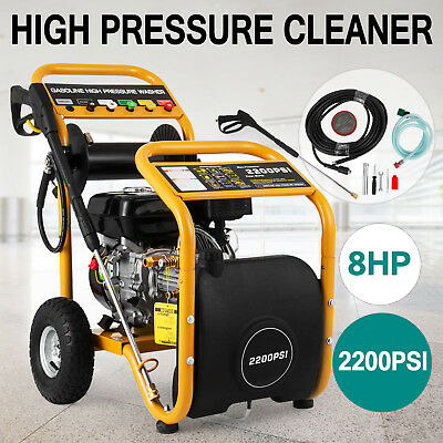 8HP 2200PSI Petrol High Pressure Washer Cleaner Blaster Gurney