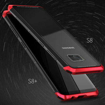 For Samsung Galaxy S9 S9+ S8 Plus Aluminum Metal Bumper+Tempered Glass Back Case