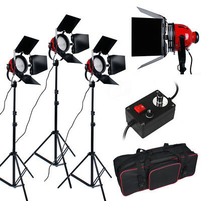 3 x 800W Kit Red Head Lumière Continue Vidéo Photo Studio 3 Supports Ampoules FR