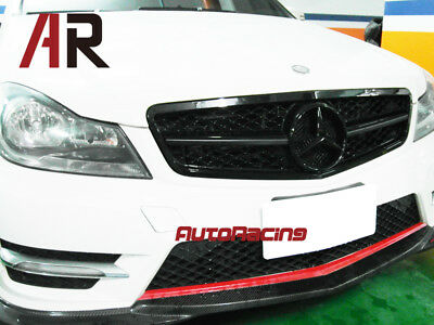 M-Benz 1 Fin Big Mesh Front Gloss Black Hood Grille Grill For C250 C350 2012+