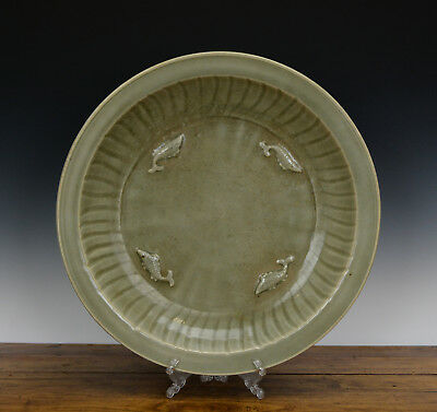 Large Antique Chinese Ming Longquan Celadon Glaze Molded Fish Porcelain Plate