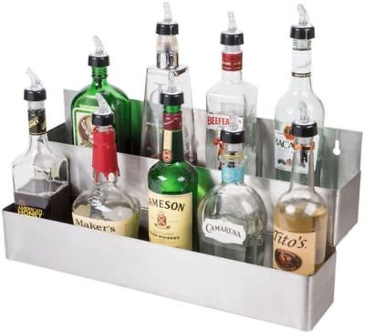 "Bar Speed Rail Liquor Display Rack 24"" Stainless Steel Double Tier"
