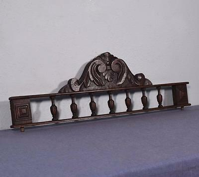"26"" French Antique Pediment Crown Chestnut Wood Crest with Spindles"