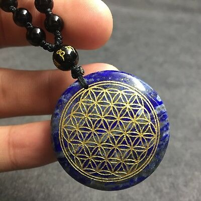 Natural Lapis Lazuli Crystal Flower of Life Pendant Reiki Healing With Necklace