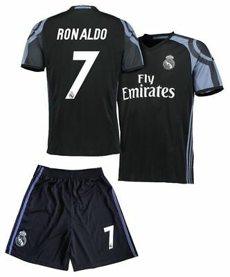 b8ad1af55a3 ... spain real madrid ronaldo 7 away black kids soccer jersey shorts youth  sizes 7170b 3458c