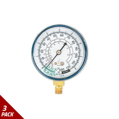 FJC Inc. Replacement Gauge For Dual Manifold - Low Side [3 Pack]