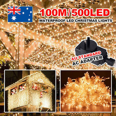 500led100m Waterproof Xmas Fairy String Light Party Wedding Room Decor Indoor OZ