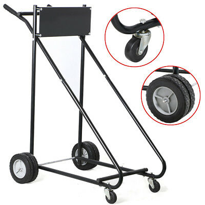 143 Kg Outboard Boat Motor Stand Carrier Cart Dolly 360 Swivel Casters Black
