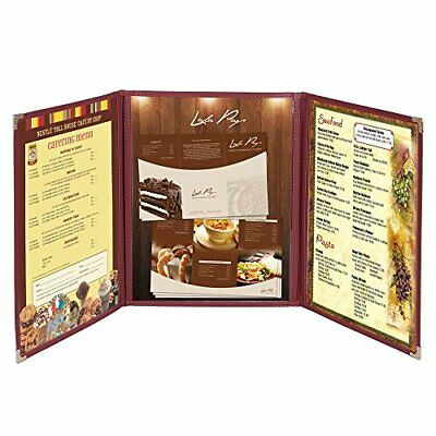30 Pack Menu Covers 8.5x14inches Triple Fold 6 View Double Stitch Book...
