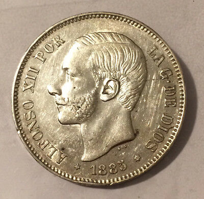 HN SPAIN Alfonso XII 1885 MS-M 5 pesetas silver Unc. KM#688     l974