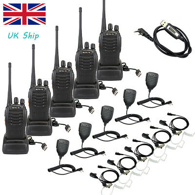 5SET 2-Way Radio Retevis H777 16CH UHF Walkie Talkie with Earpiece+Mic+Cable UK