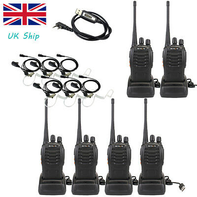 6x Walkie Talkie UHF400-470MHz Retevis Radio H777 5W 16CH +Covert Earpiece+Cable
