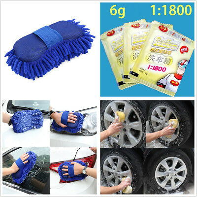 Portable Car Care Window Glass 10x Wash Powder Solid Cleaner+2x Coral Cotton Kit