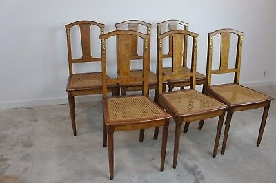 Set of Vintage French 6 Louis XV Style Cane Chairs