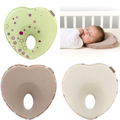 Baby Infant Memory Foam Sleep Pillow Anti Roll Prevent Flat Head Neck Support UK