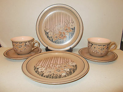 2 x Handcrafted Denby Fine Stoneware Cups & Saucers  2 x Plates Sumatra - Lovely
