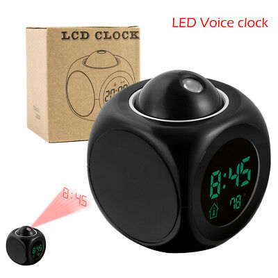 Alarm Clocks LED Wall Ceiling Projection LCD Digital Voice Talking Temperature