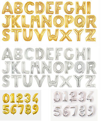 """16"""" 32"""" 42"""" GOLD SILVER Foil Helium Letters Numbers Bunting Banner Party Balloon"""