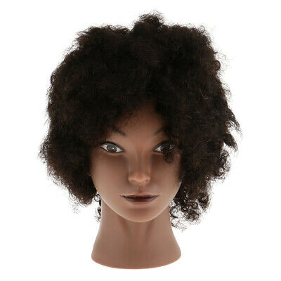Afro Hairdressing Silicone Cosmetology Training Mannequin Head Human Hair