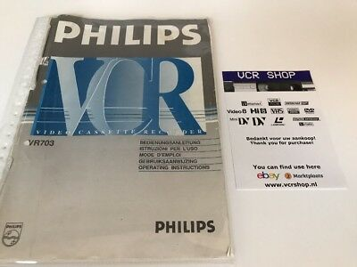 Manual: Philips VR703 VHS - NL, EN, FR, DE, IT