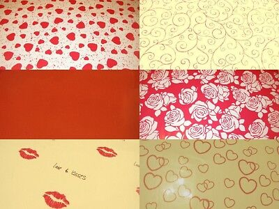 Cellophane, floral love hearts red pink present gift wrapping cut roll