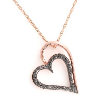 Round Natural Diamond Heart Pendant 14k Rose Gold Over 925 Sterling Silver