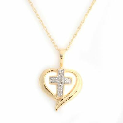 "Natural Diamond Cross Pendant W/18"" Chain 14k Gold Over 925 Sterling Silver"