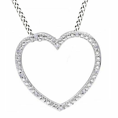 1/10 Ctw Natural Diamond Open Heart Pendant 14k Gold Over 925 Sterling Silver